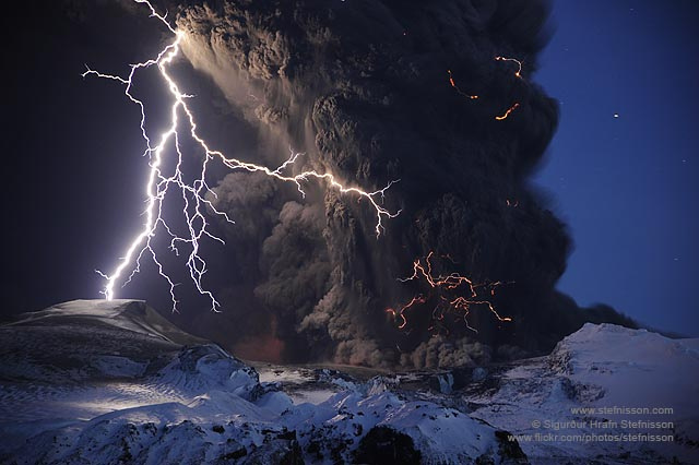 A volcanic eruption in Iceland.