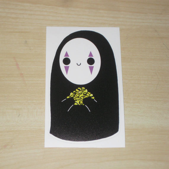 This vinyl sticker that would indubitably persuade me to give all my money to No Face.