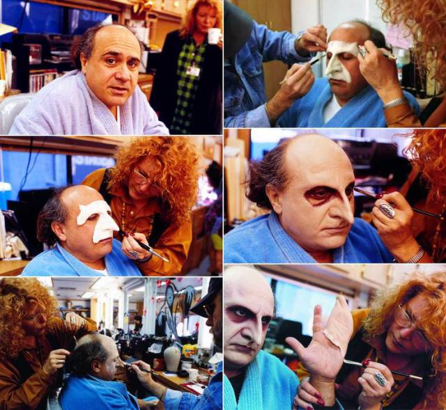 23 -  Danny Devito, behind the scenes, as Penguin in the movie Batman Returns.