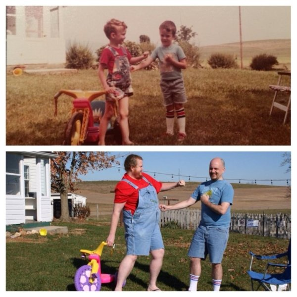family photos then now same recreated funny 25 Then & now images prove that some people never change (40 Photos)