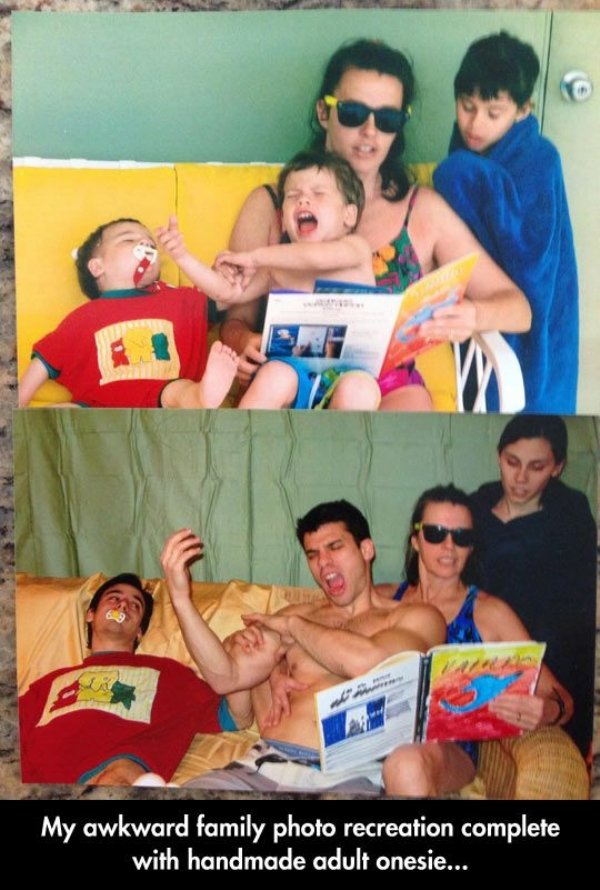 family photos then now same recreated funny 6 Then & now images prove that some people never change (40 Photos)