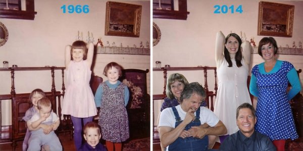 family photos then now same recreated funny 1 Then & now images prove that some people never change (40 Photos)