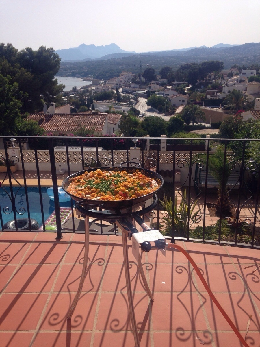 Making paella with a view in Spain.