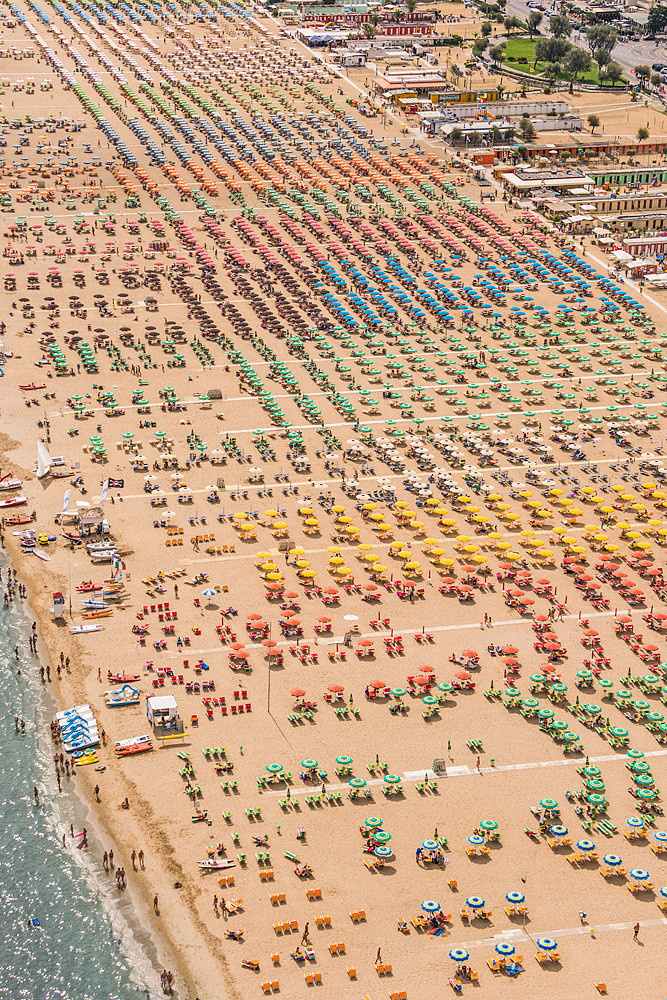 An aerial view of a beach in Italy.
