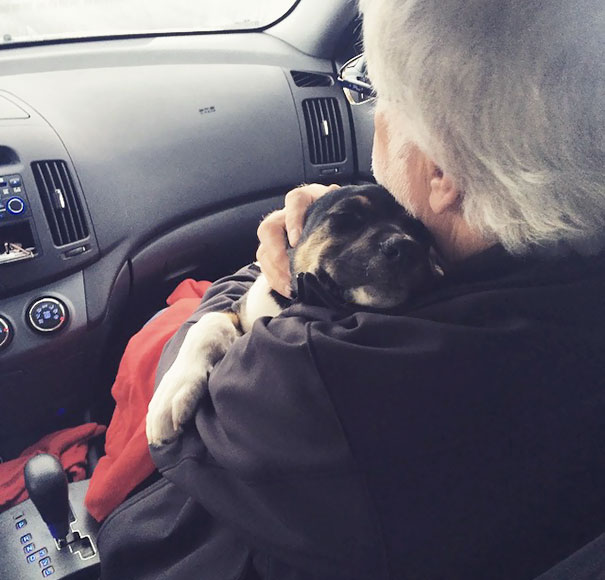 Dad Wasn't Excited About Us Getting A Dog. Too Bad Puppy Fell In Love With Him
